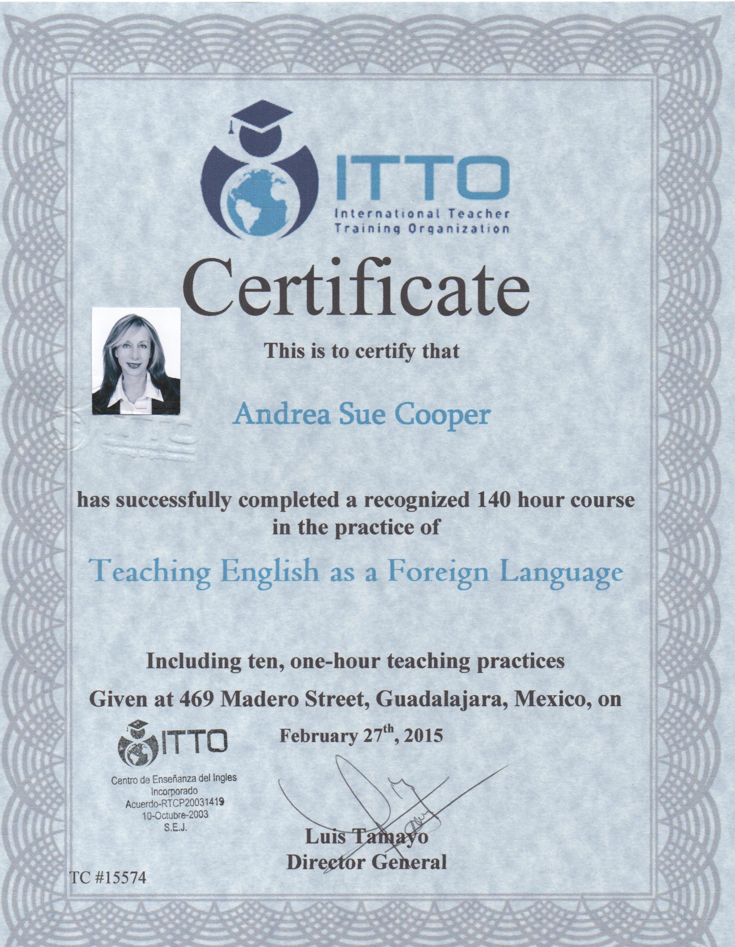 TEFL Certification   Andrea Cooper TEFL